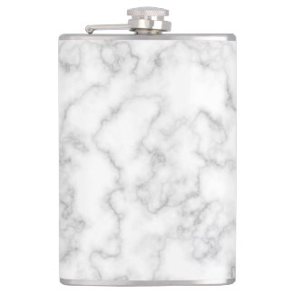 Marbled Gray White Marble Stone Pattern Background Hip Flask