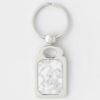Marbled Gray White Marble Stone Pattern Background Silver-Colored Rectangle Key Ring
