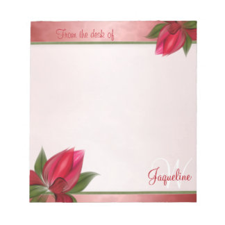 Marbled Pink Red Blooms Notepad
