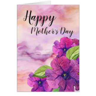 Marbled Pink With Vivid Purple Flowers Mothers Day Card