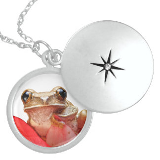 Marbled Reed Frog Cute Big Eyes Red Flower Round Locket Necklace