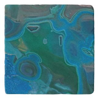 Marbled Swirl Blue Gem Stone Crystal Pattern Trivet