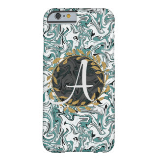 Marbled W&B with Faux Gold Wreath Barely There iPhone 6 Case