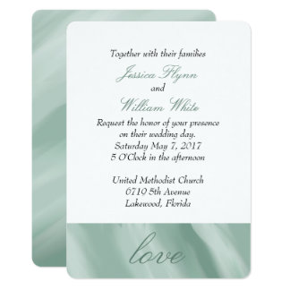Marbled White and Mint Green Wedding Invitation