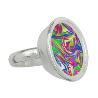 Marbleized Abstract Candy Round Silver Dress Ring. Ring
