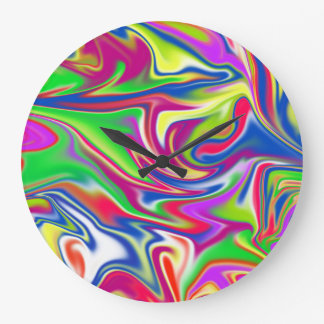 Marbleized Candy Liquid, Large Round Wall Clock. Large Clock