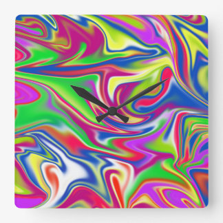 Marbleized Candy Liquid, Large Square Wall Clock. Square Wall Clock