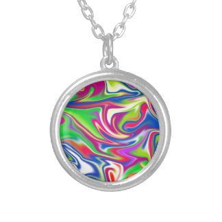 Marbleized Candy Liquid,_ Silver Plated Necklace