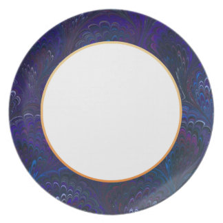 Marbleized Royal Blue End Paper Plate