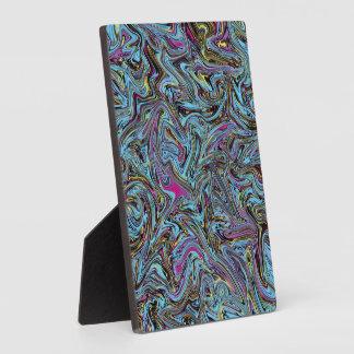 Marbleized Swirls of Black Yellow Pink Blue Etc. Plaque