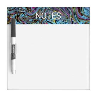 Marbleized Swirls of Black Yellow Pink Blue NOTES Dry Erase Board