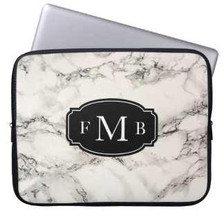 Marbleous Marble with Tripple Monogram Laptop Sleeve