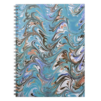 Marbling Abstract In Blue Notebook