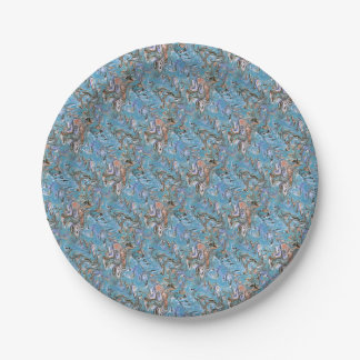 Marbling Abstract In Blue Paper Plate