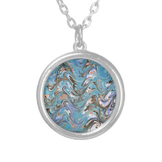 Marbling Abstract In Blue Silver Plated Necklace