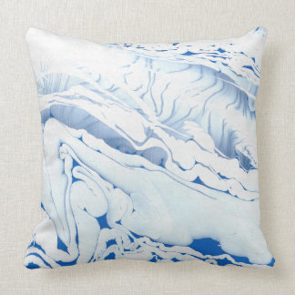 Marbling paper, ebrus technique, blue cushion