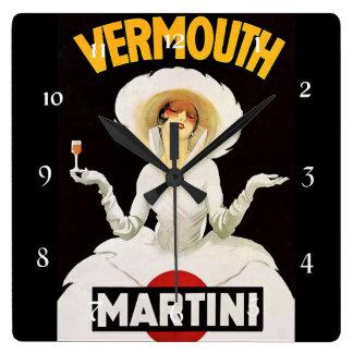 """Marcello Dudovich Art Deco Ad """"Vermouth"""" Square Wall Clock"""
