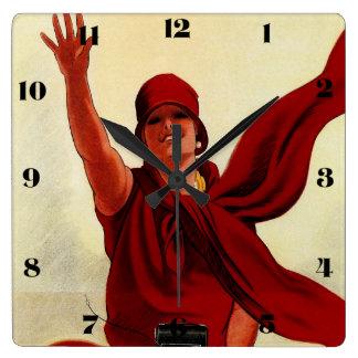 """Marcello Dudovich Art Deco """"Camera Advertisement"""" Square Wall Clock"""