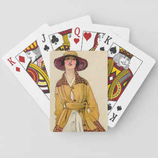 "Marcello Dudovich Art Deco ""Girl In Belted Coat"" Playing Cards"