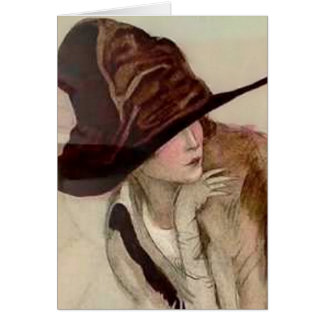 Marcello Dudovich Young Girls in Hats Illustration Greeting Card