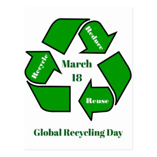 March 18, Global Recycling Day Design Postcard