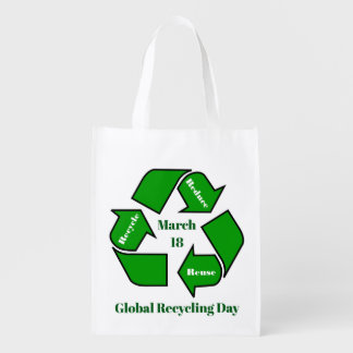 March 18, Global Recycling Day Design Reusable Grocery Bag