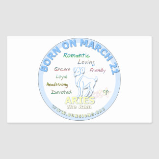 March 21st Birthday - Aries Rectangle Stickers
