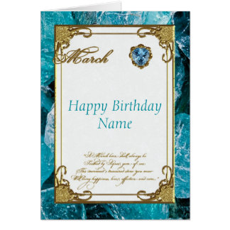 March Aquamarine Birthstone Birthday Card