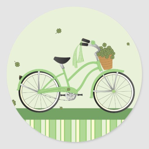 March Bicycle Round Stickers