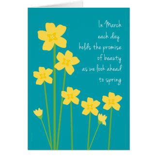 March Birth Month Daffodils Happy Birthday Card