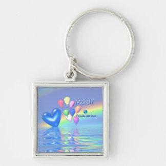 March Birthday Aquamarine Heart Key Ring