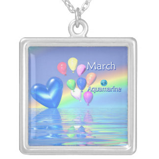 March Birthday Aquamarine Heart Silver Plated Necklace