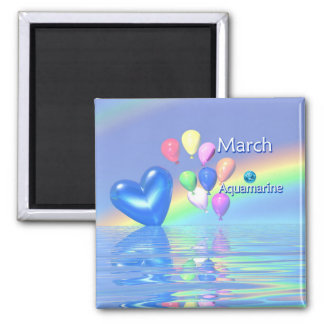 March Birthday Aquamarine Heart Square Magnet