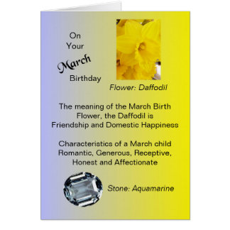 March Birthday Card - Daffodil and Aquamarine