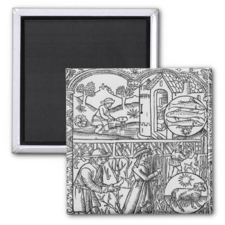March, fishing and pruning trees, Pisces Square Magnet