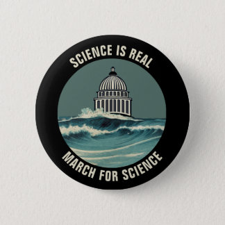 March For Science Sea Level Rise Unofficial 6 Cm Round Badge