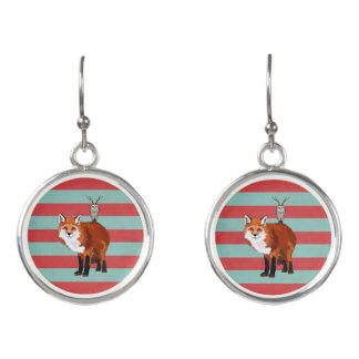 MARCH FOX &  ANTLER OWL STRIPES EARRINGS