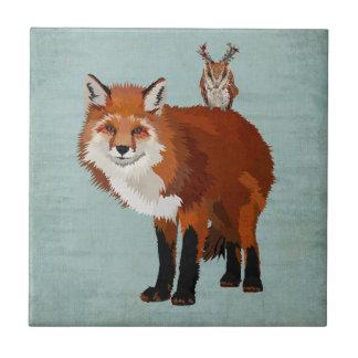 MARCH FOX & FLORAL ANTLER OWL Tile