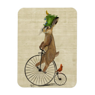 March Hare on Penny Farthing 3 Rectangular Photo Magnet
