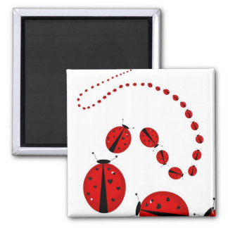 March of the Lady Bugs Square Magnet