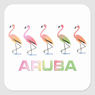 March of the Tropical Flamingos ARUBA Square Sticker