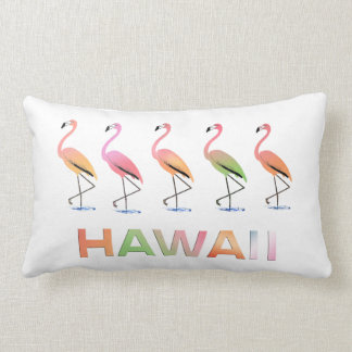 March of the Tropical Flamingos HAWAII Throw Pillow