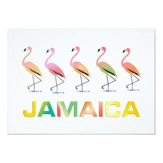 March of the Tropical Flamingos JAMAICA 13 Cm X 18 Cm Invitation Card