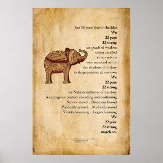 """March On""  Poem Elephant Parchment Poster"