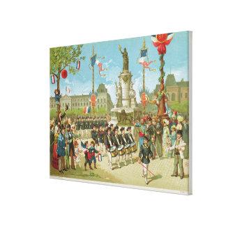 March-Past in the Place de la Republique Stretched Canvas Prints