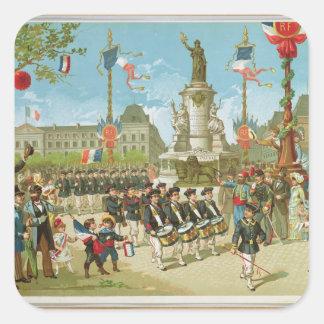 March-Past in the Place de la Republique Square Sticker