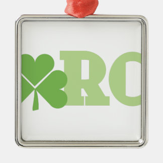 March Shamrock Silver-Colored Square Decoration