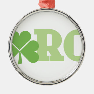 March Shamrock Silver-Colored Round Decoration
