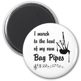 March to the Beat: Bag Pipes 6 Cm Round Magnet