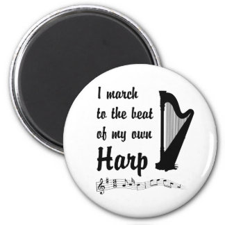 March to the Beat: Harp 6 Cm Round Magnet